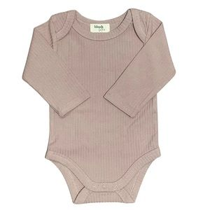 OATMEAL | Organic ribbed baby long sleeve Bodysuit